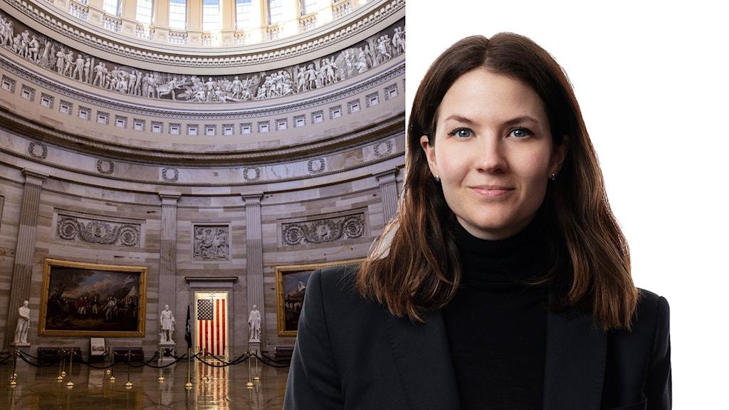 Montage med Ekots USA-korrespondent Cecilia Khavar och interiör från den amerikanska kongressbyggnaden