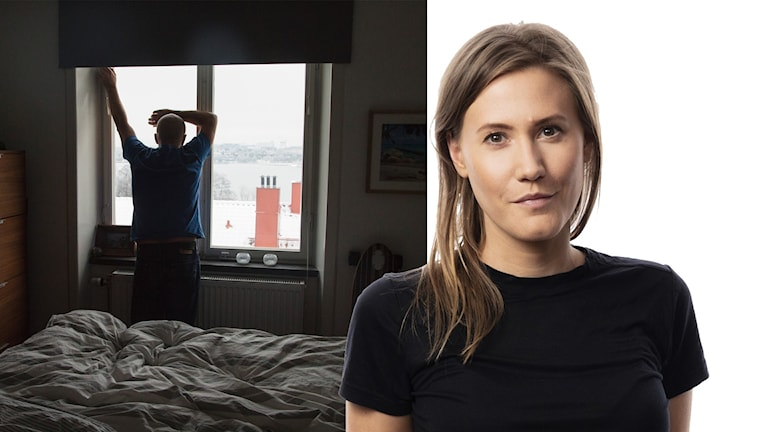 Montage med genrebild av deprimerad man och Ekots korrespondent Caroline Kernen.
