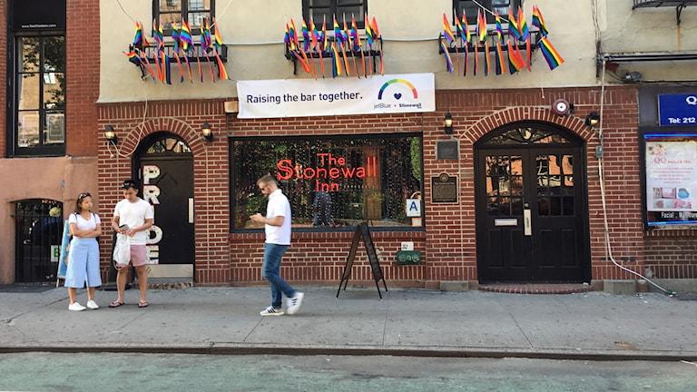 Gaybaren Stonewall Inn, där ett uppror blev starten på hbtq-rörelsen sommaren 1969.