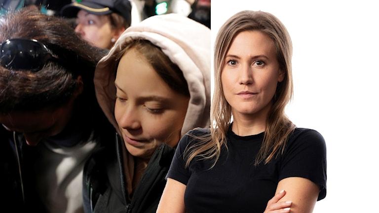 Greta thunberg och Caroline kernen.