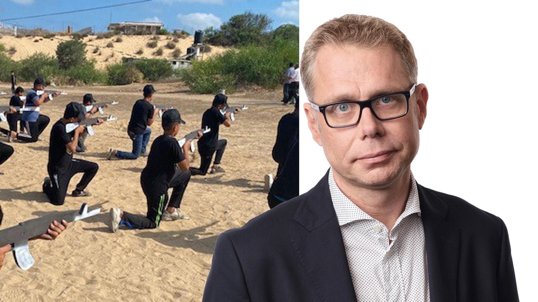 Splitbild på vapenträning med barn i Gaza och Ekots utrikeskorrespondent Jan Andersson
