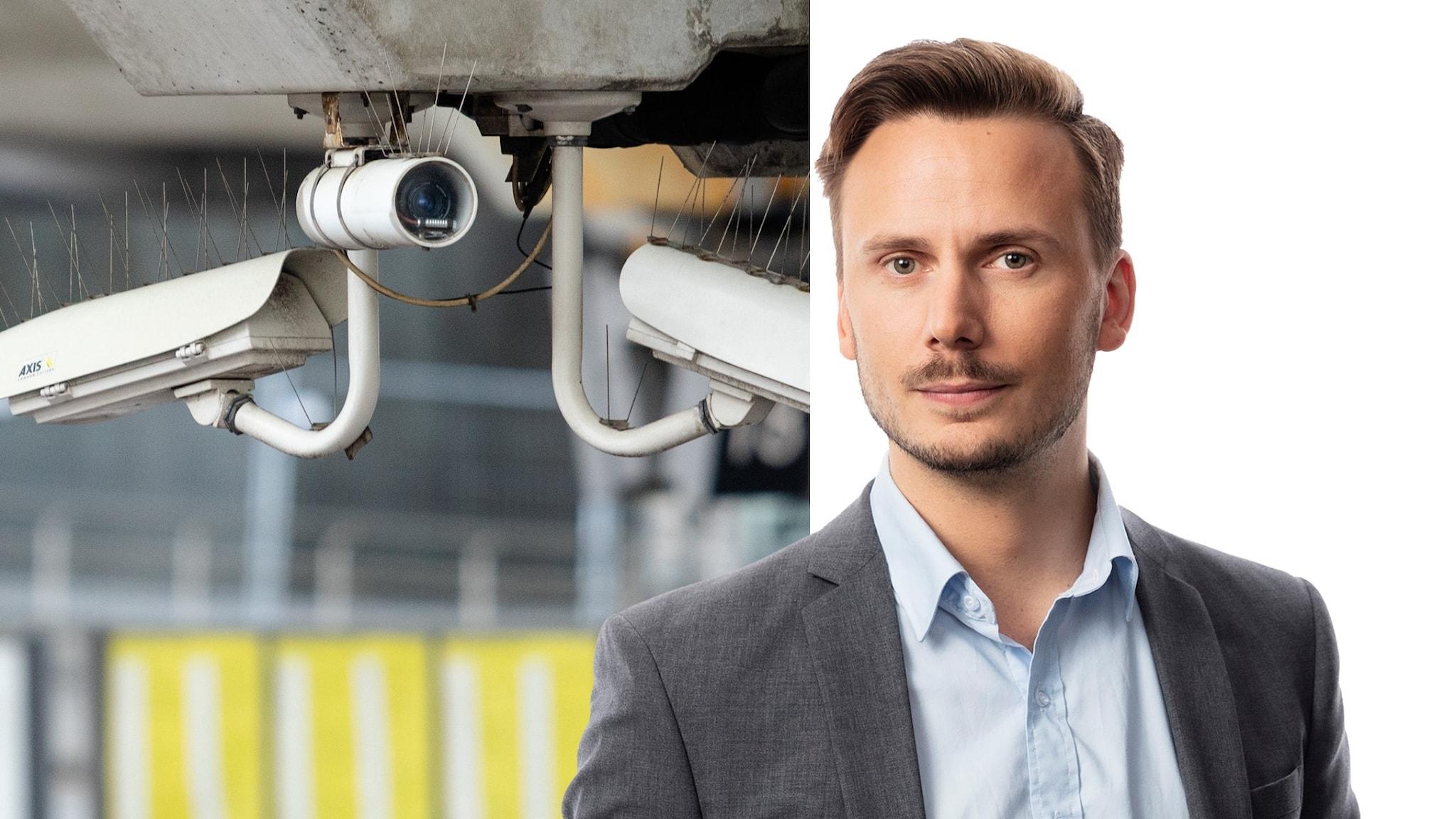 Två delad bild. Bild på övervakningskameror, och på utrikeskrönikören Björn Djurberg.
