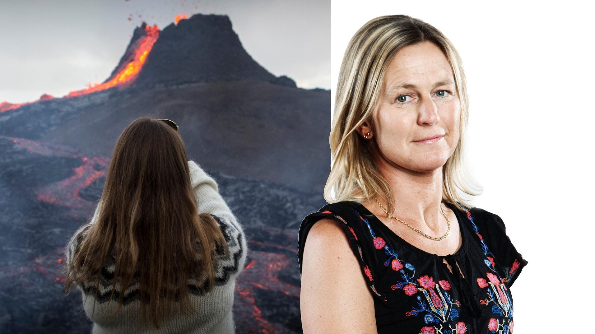 En kvinna med stickad tröja fotar ett vulkanutbrott med sin mobil