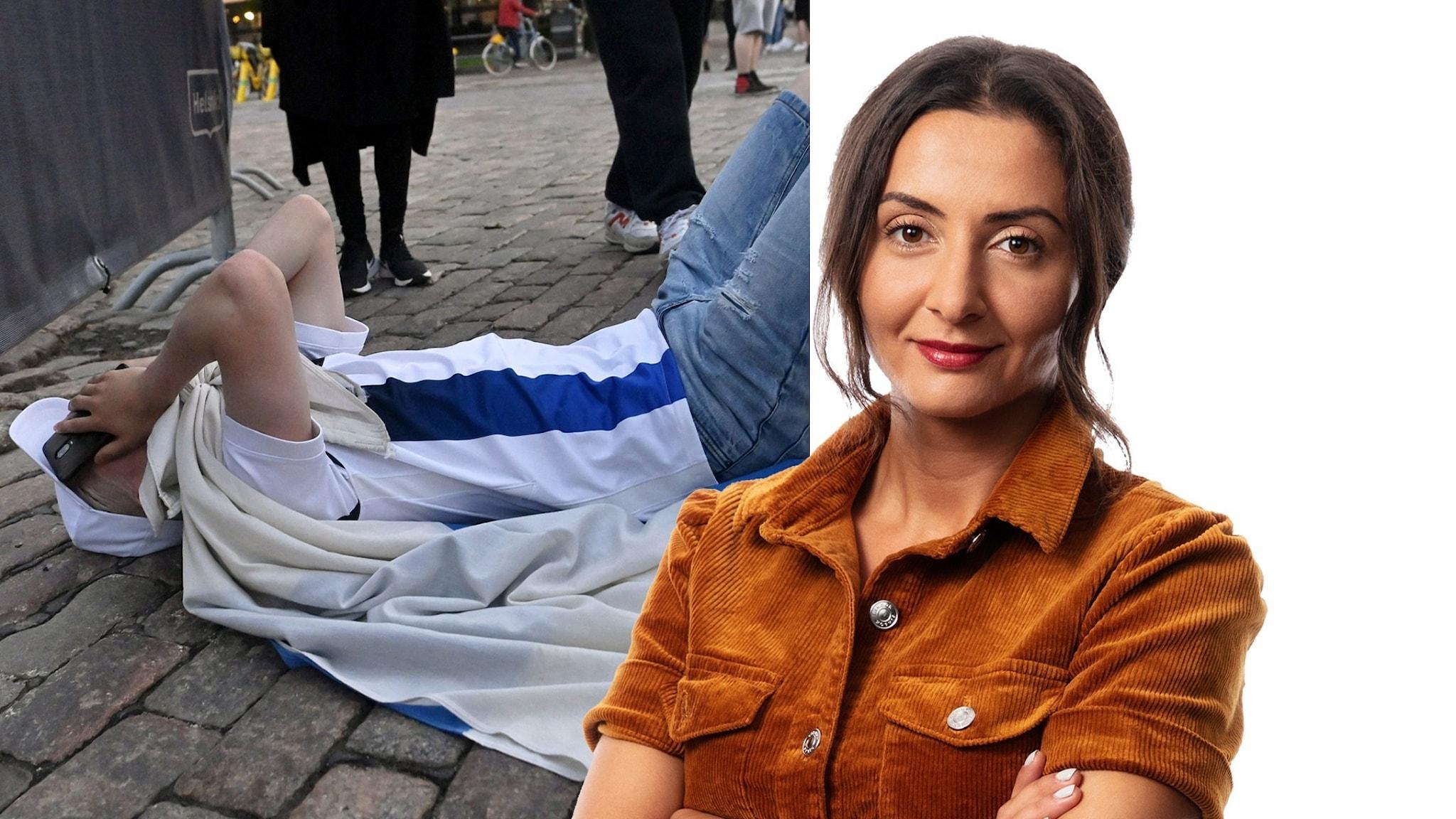 En besviken finsk supporter och Lubna El-Shanti.
