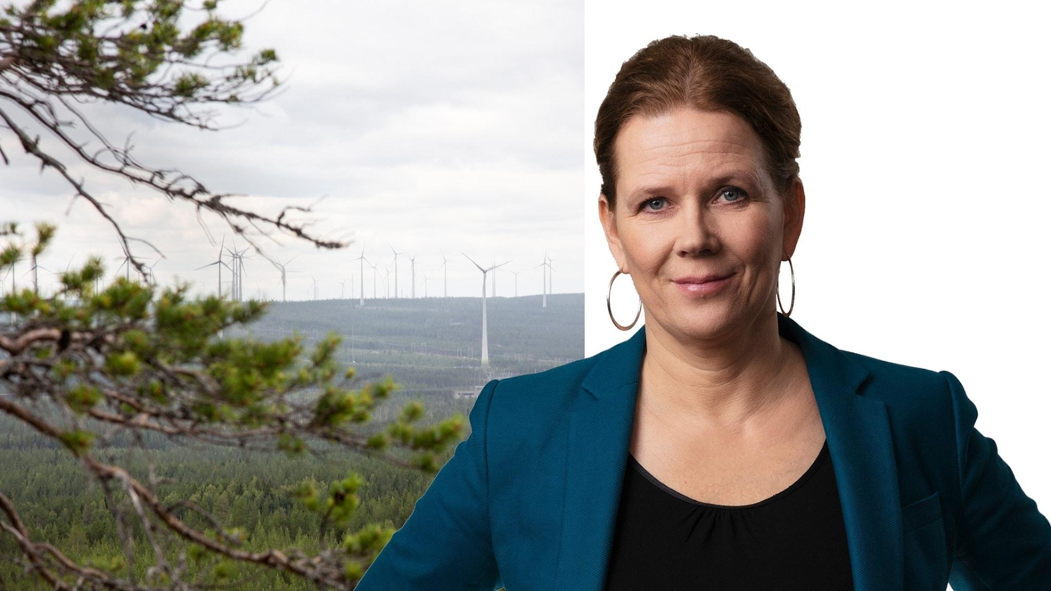 Skog och vindkraftverk samt Mari-Louise Kristola.