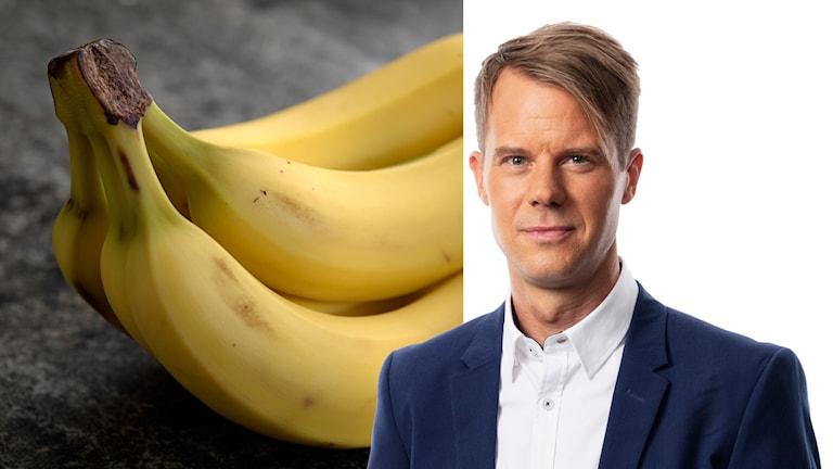 Till vänster: bananer. Till höger: Andreas Liljeheden.