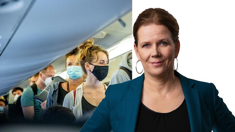 Bild på resenärer med munskydd och Ekots klimatkorrespondent Marie-Louise Kristola.