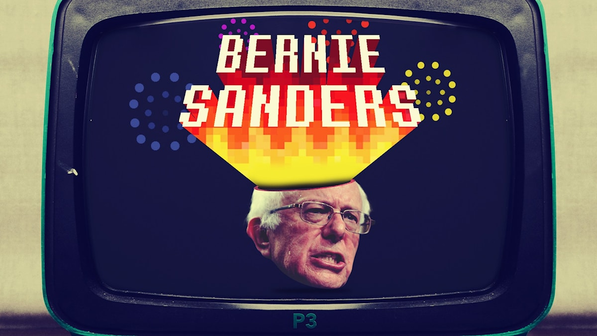 Grafik med Bernie Sanders ansikte i en TV.