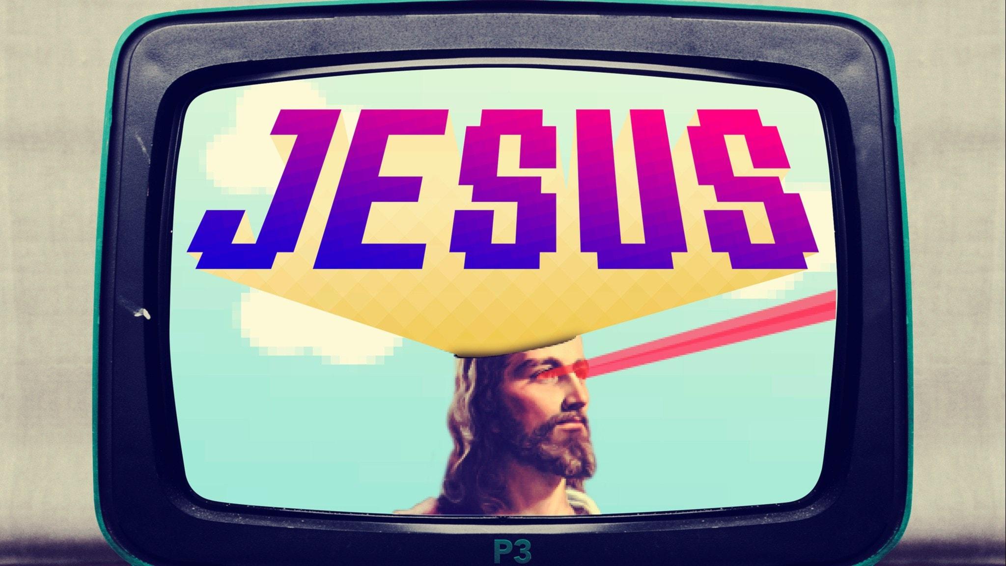 Tv-apparat med plastchassi med en bild på Jesus ansikte och texten JESUS.