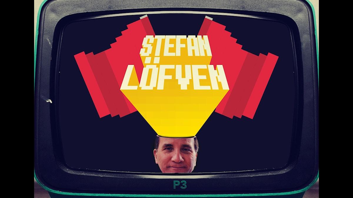 Statsminister Stefan Löfvens ansikte i en tv av 60-talsmodell med plastchassi .Två röda fanor i bakgrunden.