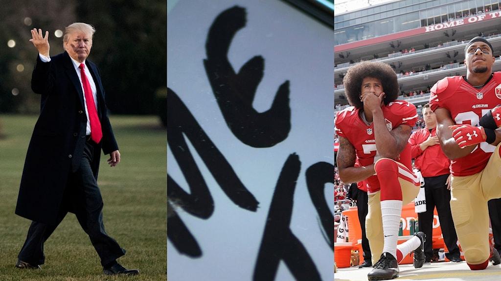Många av nyorden handlar omfalska nyheter och alternativa fakta. Men även metoo finns med som ord. Och knäprotesten som startades av den amerikanske fotbollsspelaren Colin Kaepernick.