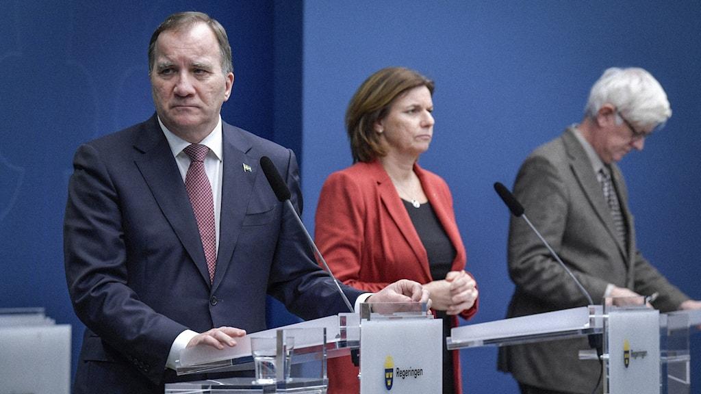 Presskonferens med Stefan Löfven, Isabella Lövin och Johan Carlsson