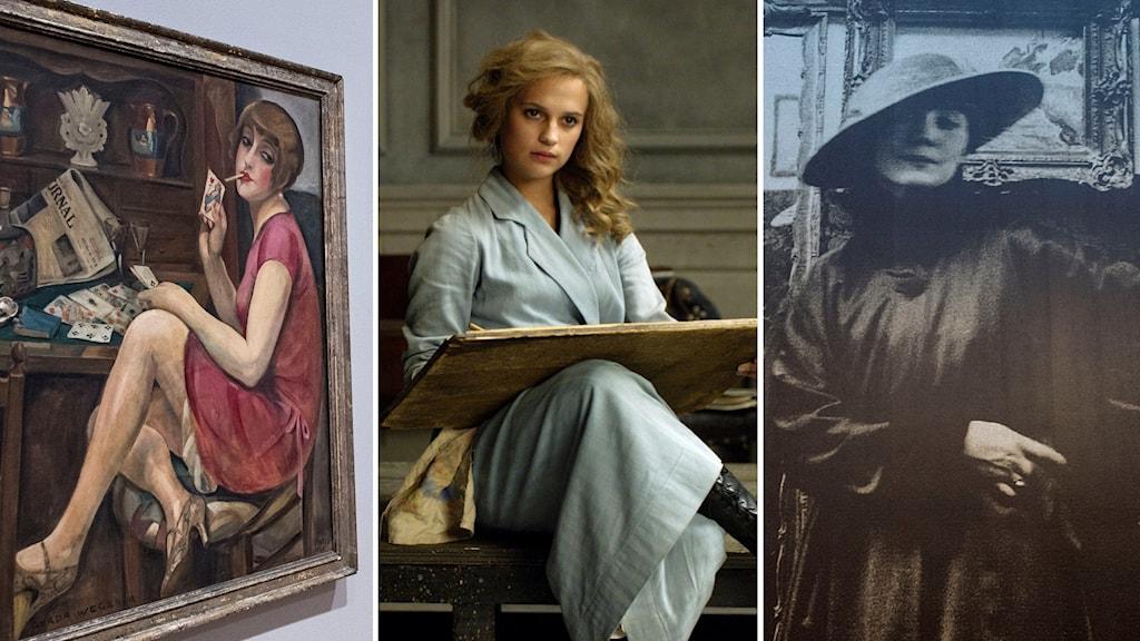 """Gerda Wegeners spelades av Alicia Vikander i filmen """"The Danish Girl"""" från 2015 (mitten)."""