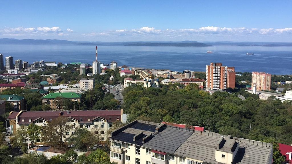 Vy över Vladivostok i östra Ryssland.