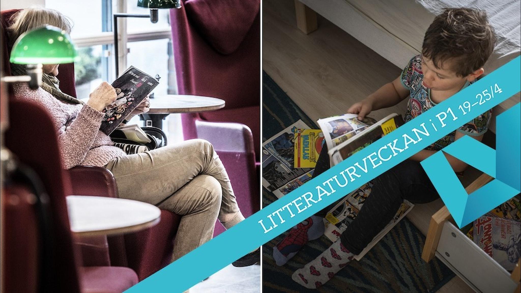 En äldre kvinna som läser en bok och en yngre pojke som läser en serietidning.