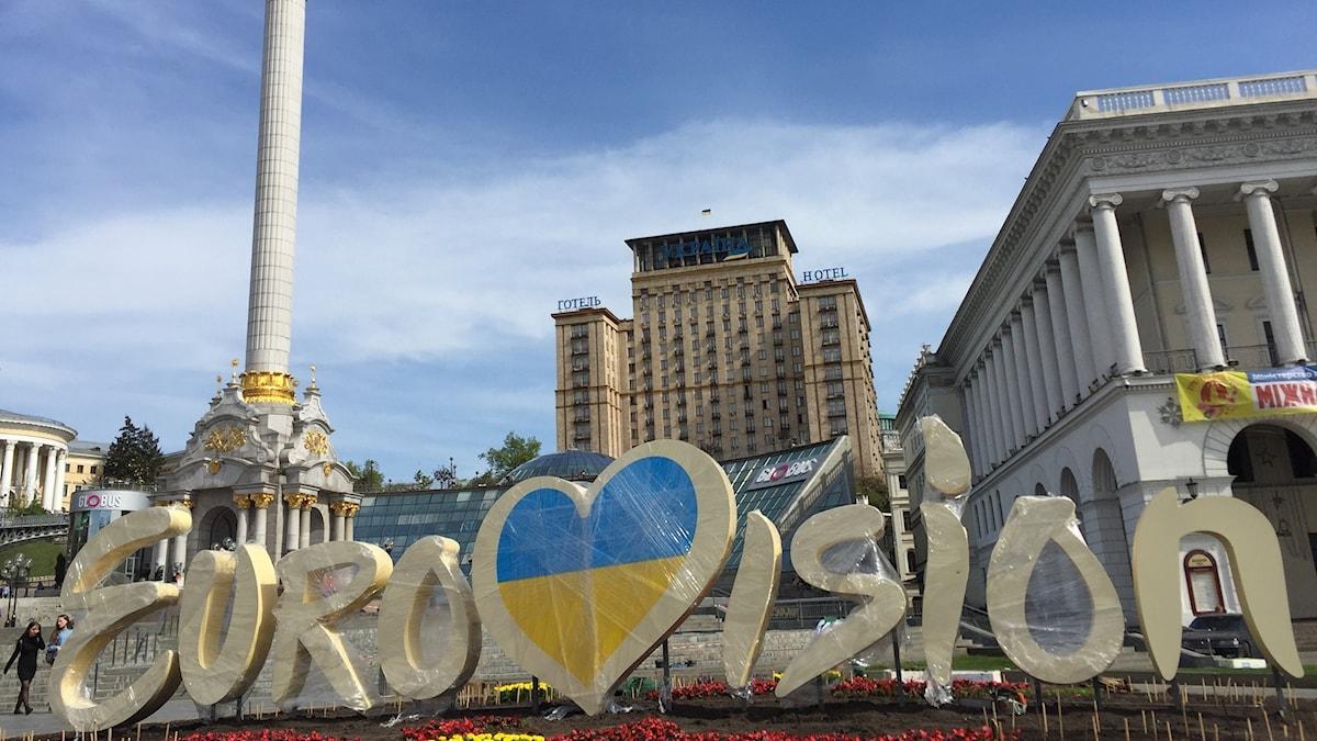Majdan i Kiev inför Eurovision Song Contest. Foto: Fredrik Wadström