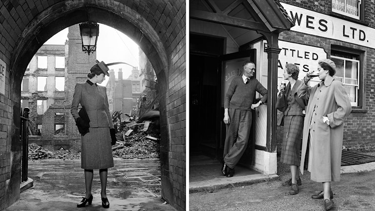 Modell i stram dräkt i London 1941 och modefotografi i Sussex 1950