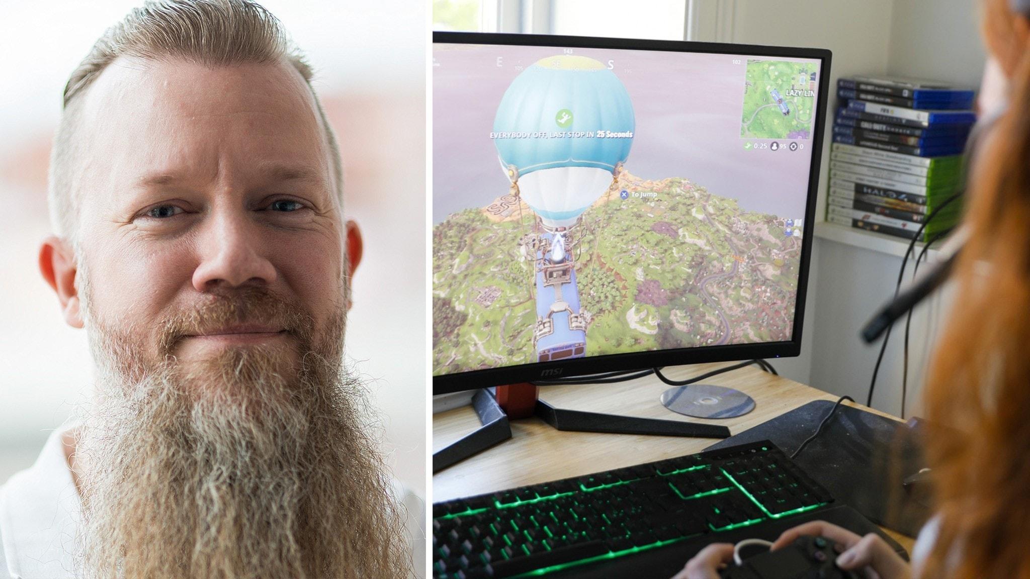 En man med skägg och en bild på en tjej som spelar datorspel.