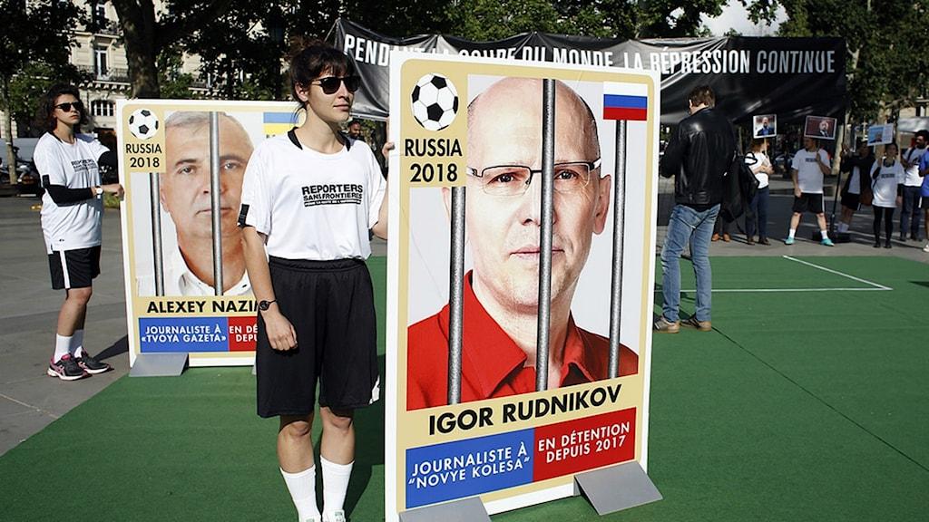 Manifestation av Reportrar utan gränser under fotbolls-VM.