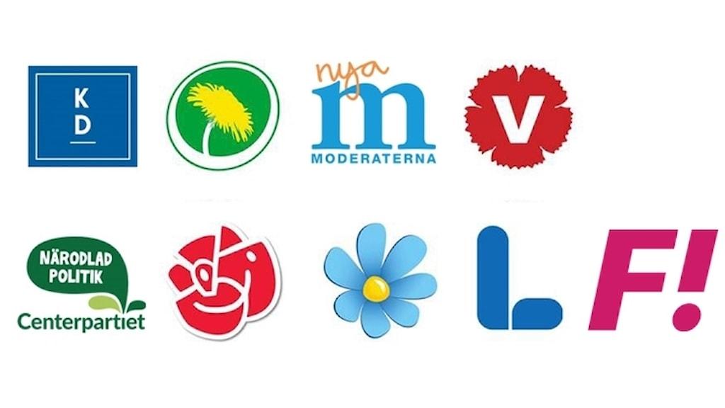 Riksdagspartiernas logotyper och Fi:s logotyp.