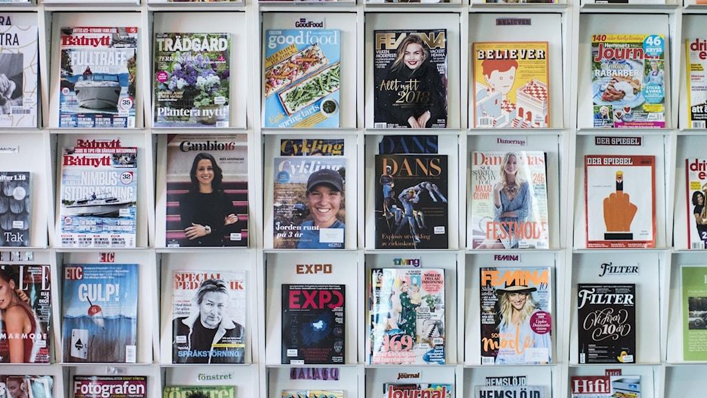 Tidskrifter i hyllan på ett bibliotek.