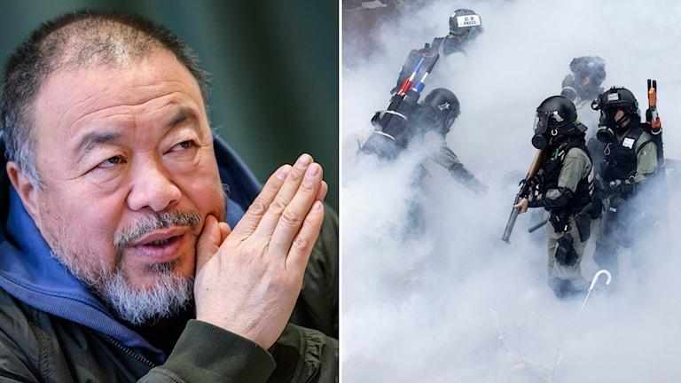 Ai Weiwei och poliser i Hongkong