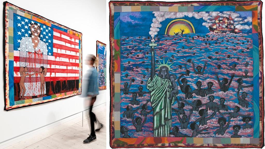 Konstnären Faith Ringgold har på senare år gjort sig känd för sina konstverk som är en kombination av lapptäcken och målningar.
