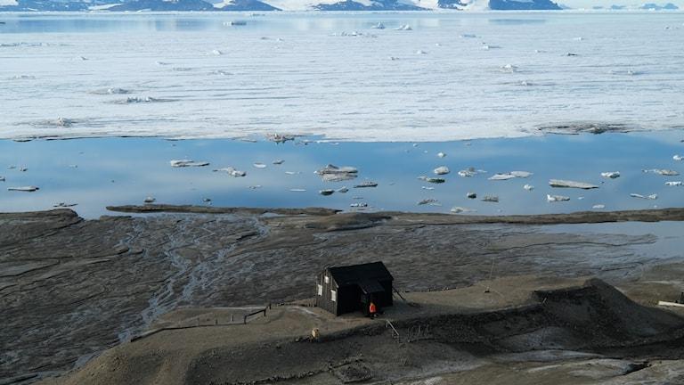 snow hill, en stuga på kusten på antarktis
