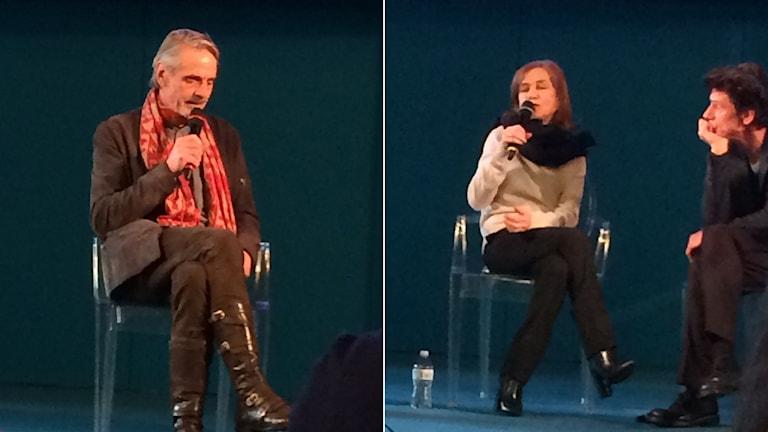 Jeremy Irons och Isabelle Huppert vid utdelningen av Europeiska teaterpriset i Rom.
