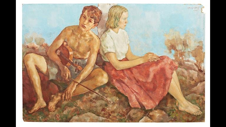 Detalj ur Sommaridyll av Lotte Laserstein, Kalmar konstmuseum.