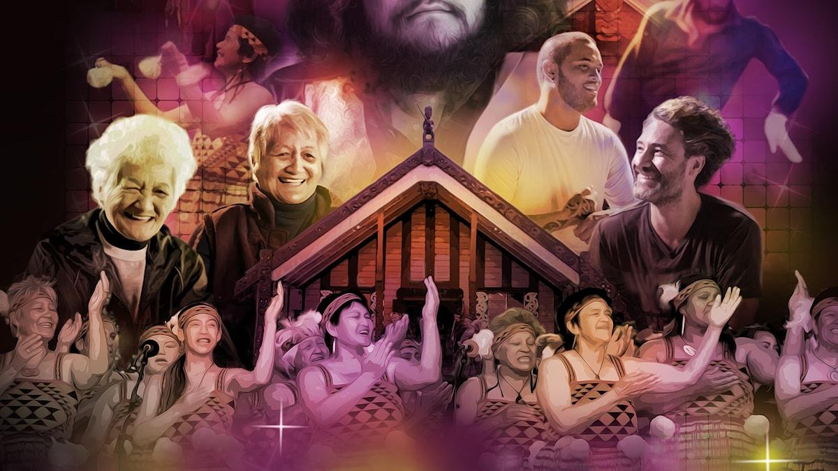 """Affischen till dokumentärfilmen """"Poi E"""" av Tearepa Kahi (beskuren)."""
