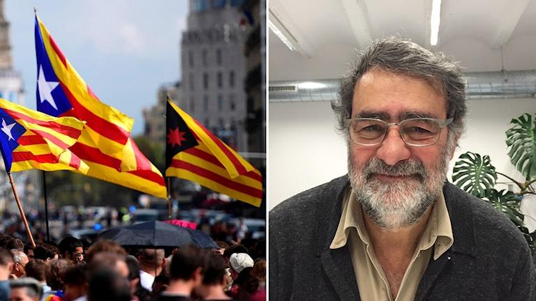 Katalanska flaggor och fotografen Juan Fontcuberta.