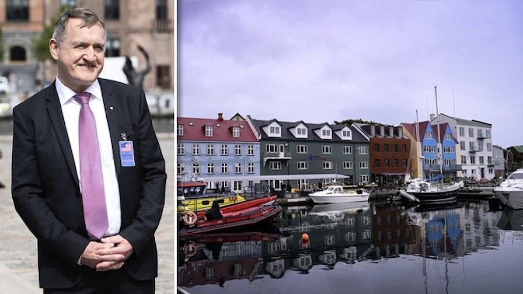 Ett porträtt av den färöiska kulturministern Jenis av Rana, klädd i mörk kostym, vit skjorta och rosa slips. Och en bild av hus vid vattnet från Färövarnas huvudort Torshamn
