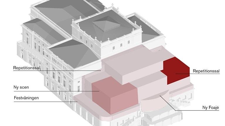 Skiss på den planerade tillbyggnaden på Kungliga Operan.