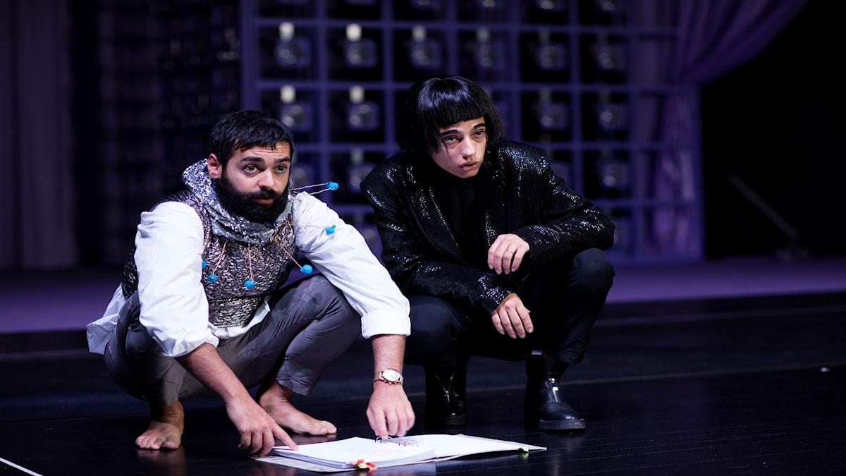Ardalan Esmaili och Evin Ahmad, båda spelar Hamlet, work in   progress