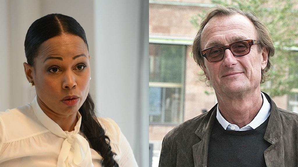 Kulturminister Alice Bah Kuhnke och ordförande för Sveriges biografägareförbund Peter Fornstam