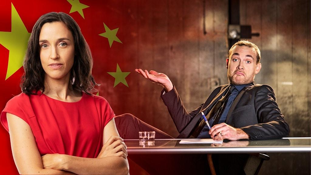 Hanna Sahlberg, kinesiska flaggan och Jesper Rönndahl som programleder satirprogrammet Svenska Nyheter.