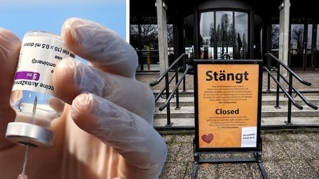 En hand klädd i plasthandske som drar upp vaaccin i en spruta och en bild med en skylt – Stängt – utanför en konsthall i Skåne.