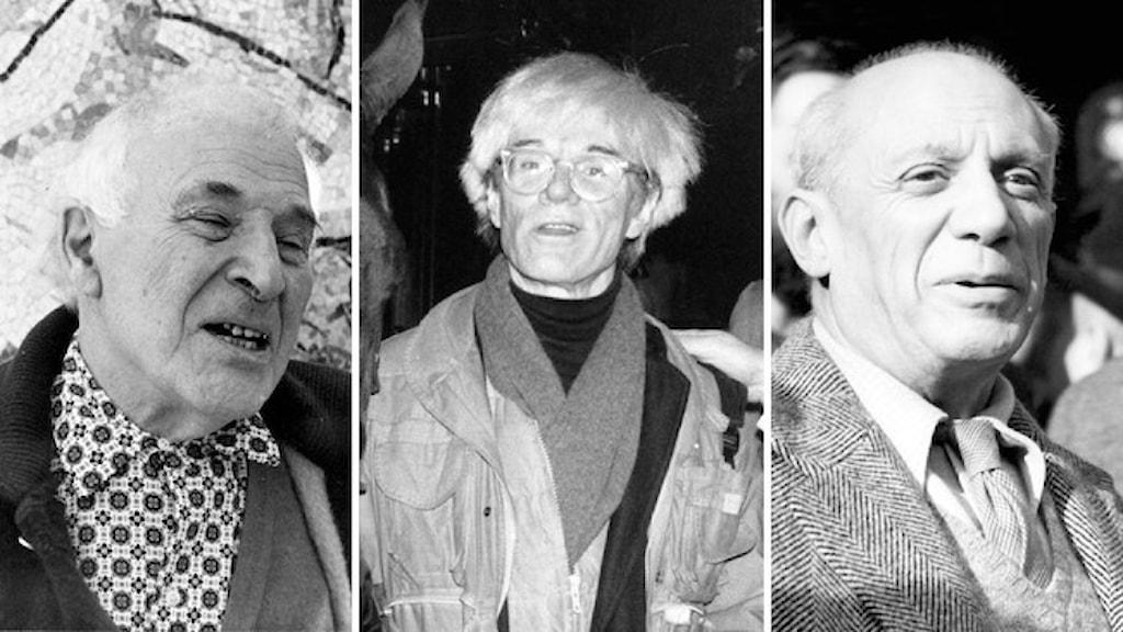 Svartvita porträtt av konstnärerna Marc Chagall, Andy Warhol och Pablo Picasso.