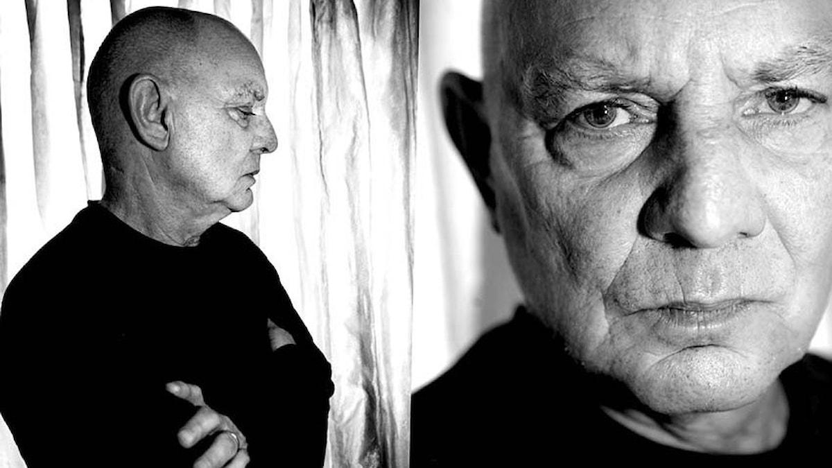 Dramatikern Lars Norén i profil och framifrån.