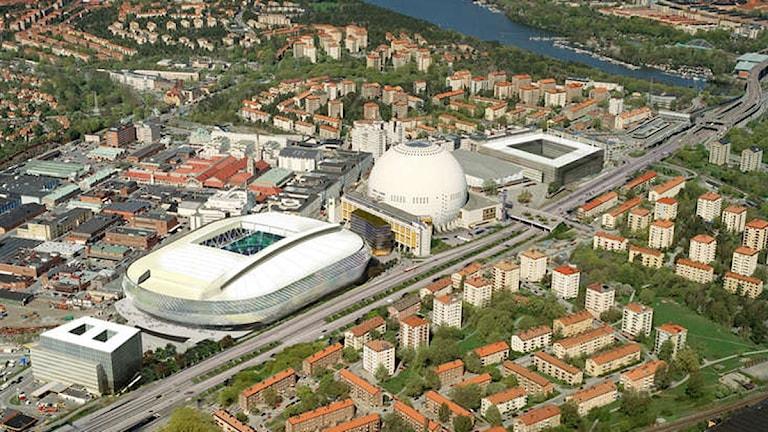 Tele2 Arena i förhållande till Globen. Foto: White
