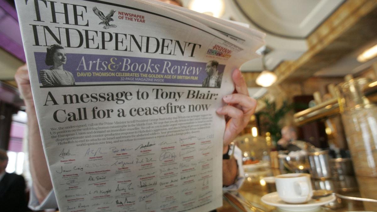 The Independent. Foto: AFP PHOTO/FRANCOIS GUILLOT/Scanpix
