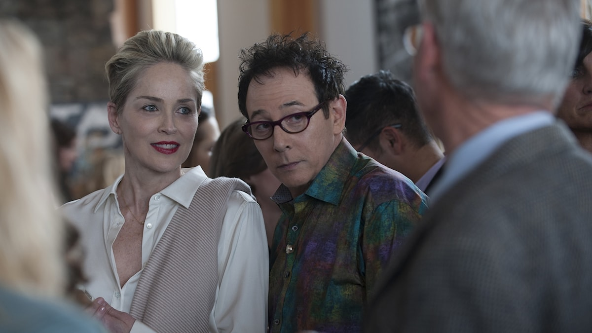 "Sharon Stone och Paul Reubens i ""Mosaic""."