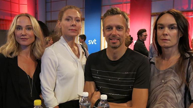 Anja Lundqvist, Eva Röse, Simon Kaijser och Rebecka Hemse aktuella med De dagar som blommorna blommar. Foto: Björn Jansson/Sveriges Radio.