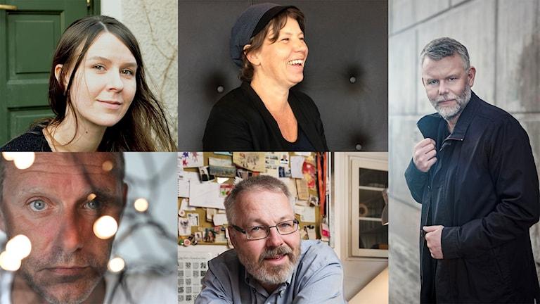 Elin Ruuth, Lina Ekdahl, Arne Dahl, John Ajvide Lindqvist, Joakim Pirinen. Nominerade till Sveriges Radios Novellpris 2017