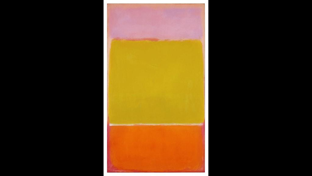 En tavla med tre färgfält: rosa, gult och orange.