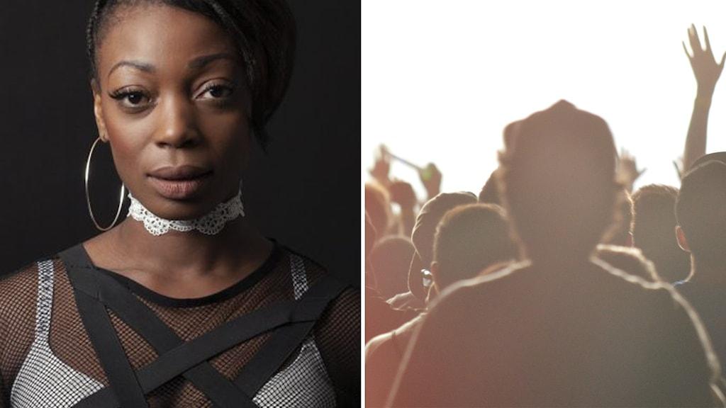 Kvinna i närbild, publik sedd  bakifrån