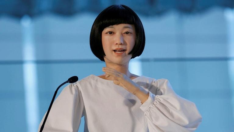 En av de nyhetspresentatörsrobotar som Hiroshi Ishiguro skapat.