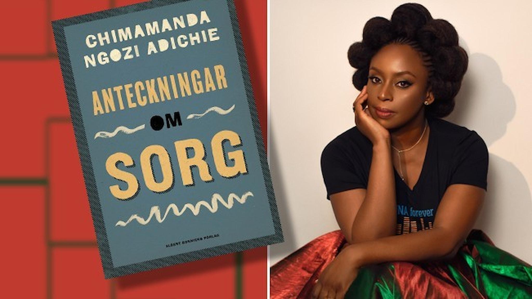 Ett porträtt av den nigerianska författaren Chimamanda Ngozi Adichie klädd i röd och grön glansig kjol och infällt i bilden är omslaget till hennes bok Anteckningar om sorg.