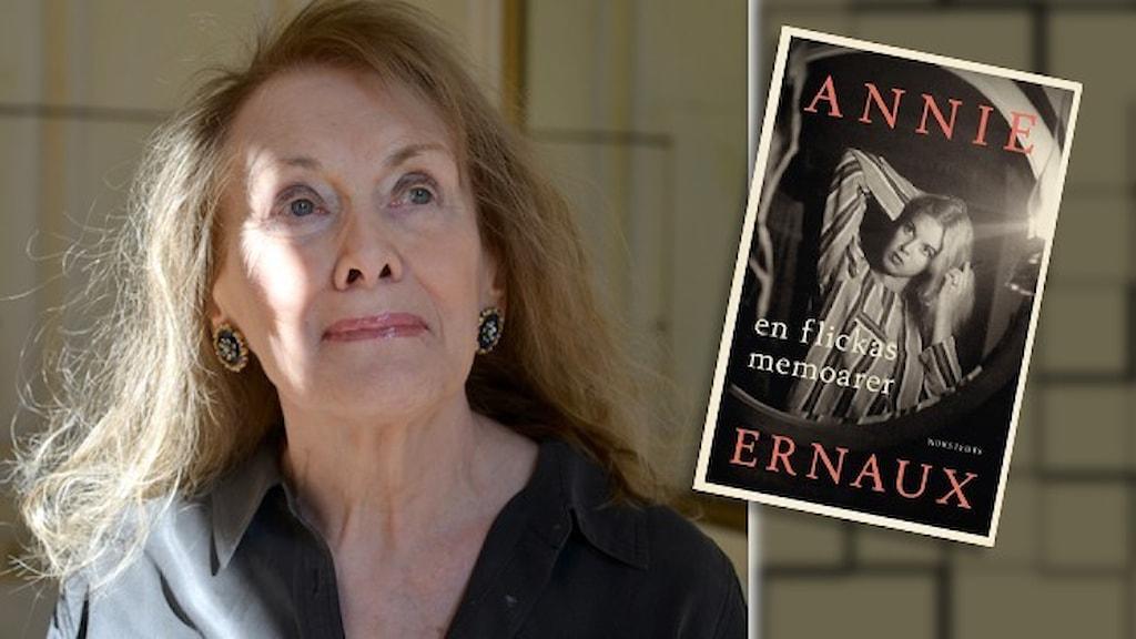 Porträtt av författaren Annie Ernaux och infällt i bilden är omslaget till hennes bok En flickas memoarer.